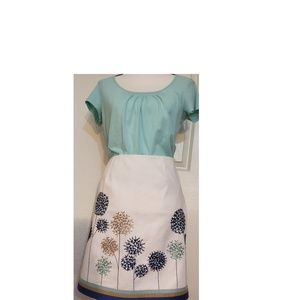 Boden White & Embroidered Flowers A-Line Skirt 8P